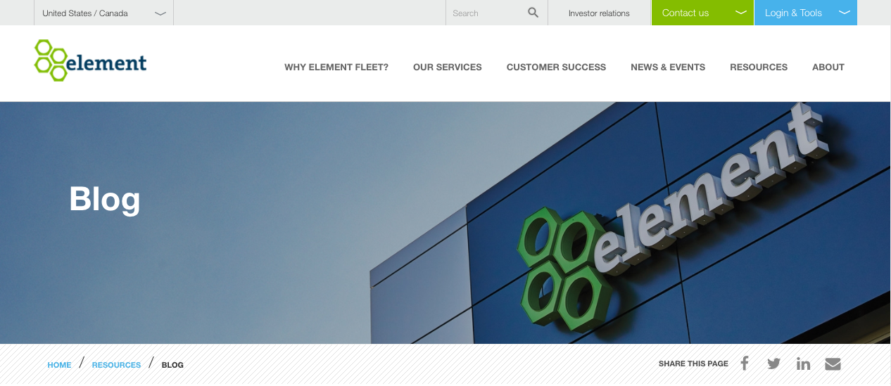 A screenshot of elementfleet.com